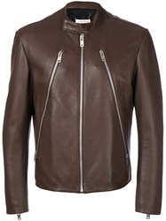 Maison Martin Margiela Zip Detail Biker Jacket Cotton Lamb Skin Polyester Viscose Brown