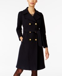 Anne Klein Double Breasted Belted Trench Coat Black