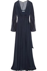 Halston Heritage Crinkled Chiffon Wrap Gown Navy