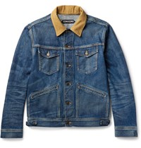 Tom Ford Corduroy Trimmed Elvedge Denim Jacket Blue