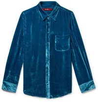 Sies Marjan Sander Silk And Cotton Blend Corduroy Shirt Blue