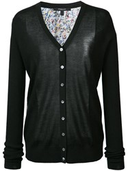 Derek Lam Printed Back Buttoned Cardigan Women Silk Cashmere S Black