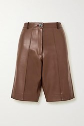 Peter Do Faux Leather Shorts Brown