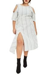 Elvi Plus Size Women's The Masago Stripe Cold Shoulder Dress White