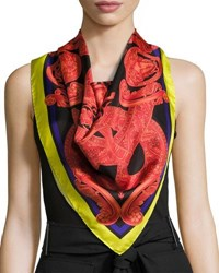 Versace Circular Slither Foulard Scarf Red