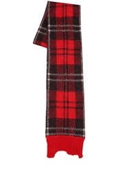 Alexander Mcqueen Wool And Mohair Tartan Scarf Red Black
