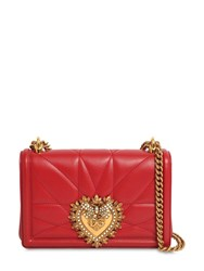 Dolce And Gabbana Small Devotion Quilted Leather Bag Rosso Papavero