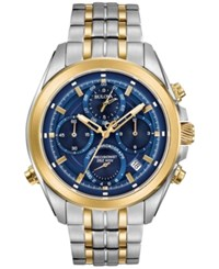 Bulova Men's Chronograph Precisionist Two Tone Stainless Steel Bracelet Watch 44.5Mm 98B276