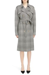 Magda Butrym Checked Double Breasted Wool Coat Grey