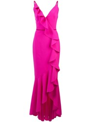 Marchesa Notte V Neck Crepe Gown Pink And Purple