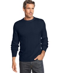 John Ashford Big And Tall Ribbed Crew Neck Sweater Navy Blue
