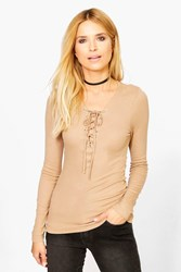 Boohoo Long Sleeved Ribbed Lace Up T Shirt Camel