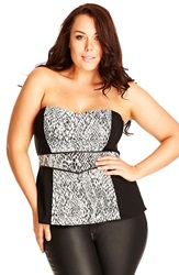 City Chic 'Slither' Strapless Corset Top Plus Size Black