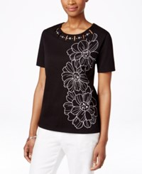 Alfred Dunner Petite Embroidered Embellished T Shirt Black