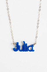 Women's Moon And Lola 'Zebra Block Font' Personalized Nameplate Pendant Necklace Cobalt Gold