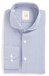 Strong Suit Men's Big And Tall 'Espirit' Trim Fit Check Dress Shirt Blue Check