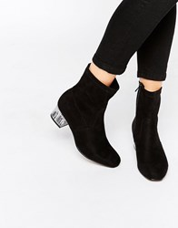 Truffle Collection Mid Heel Boot With Clear Heel Black Mf