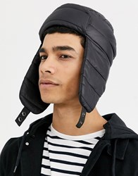 New Look Trapper Hat In Quilted Black