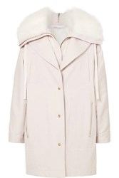 Agnona Layered Shearling Trimmed Cotton Canvas Parka Baby Pink