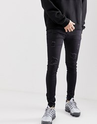 Sixth June Super Skinny Jeans With Distressing In Black