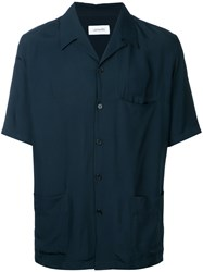 Christophe Lemaire Lapel Shirt Men Rayon 48 Blue