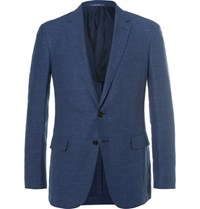 Ralph Lauren Purple Label Blue Nigel Slim Fit Linen And Wool Blend Hopsack Blazer Navy