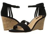 Tahari Farce Black Suede Cork Women's Wedge Shoes
