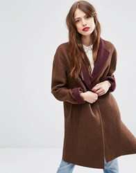 Asos Coat With Contrast Collar Brown