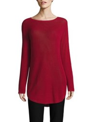 Eileen Fisher Ribbed Organic Cotton And Silk Blend Top China Red