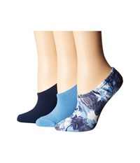 Converse 3 Pack Linear Floral Print Made For Chuck White Light Blue Black Low Cut Socks Shoes