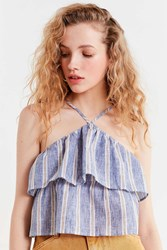 Urban Outfitters Uo Hattie Striped Halter Tank Top Blue