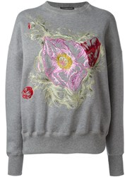 Alexander Mcqueen Floral Embroidered Sweatshirt Grey