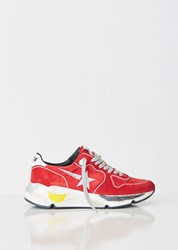 Golden Goose Running Sole Sneakers Red Suede Silver Star Red Suede Silver Star