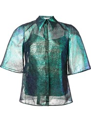 Delpozo Iridescent Lace Shirt Blue
