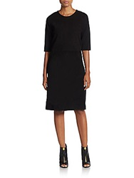 Pauw Wool And Suede A Line Dress Black