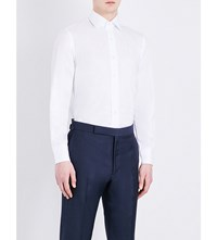 Emmett London Satin Stripe Slim Fit Cotton Shirt White