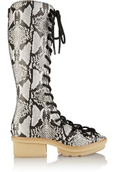 3.1 Phillip Lim Mallory Lace Up Snake Effect Leather Knee Boots Animal Print