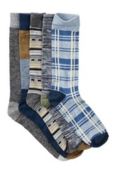 Lucky Brand Die Cut Pull Out Crew Cut Socks Pack Of 5 Blue