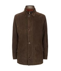 Peter Millar Shearling Trim Leather Jacket Brown