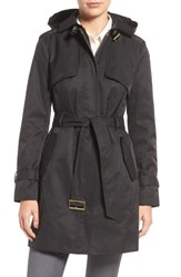 Cole Haan Signature Women's Faux Leather Trim Trench Coat Black