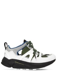 Ganni 30Mm Brooklyn Low Suede And Mesh Sneakers White Multi