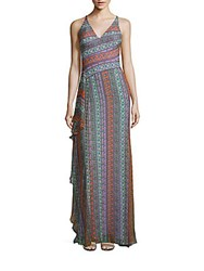 Versace Ruffle Trimmed Floral Gown Multi