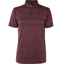 Nike Zonal Cooling Striped Jersey And Mesh Golf Polo Shirt Burgundy