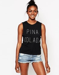 Worn By Pina Colada Drop Arm Cut Off T Shirt Black