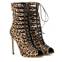 Francesco Russo Mytheresa.Com Exclusive Cut Out Calf Hair Ankle Boots Printed Leopard