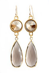 Isabella Tropea Crystal And Gemstone Daydreamer Earring Smoky Quartz And Golden Shadow Crystal