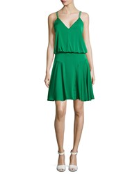 Milly Crepe Racerback Dress Emerald Green