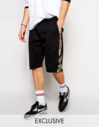 Reclaimed Vintage Camo Side Panel Jersey Shorts Black