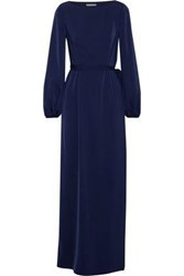 Mikael Aghal Layered Satin And Lace Maxi Dress Navy