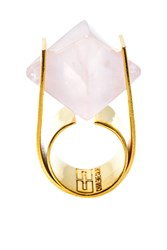 Charlene Court Rose Quartz Octahedral Ring
